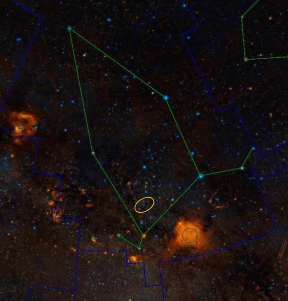 Pozicija novotkrivene promjenjive zvijezde.