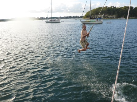 Swinging from the spinnaker pole, Onset Harbor