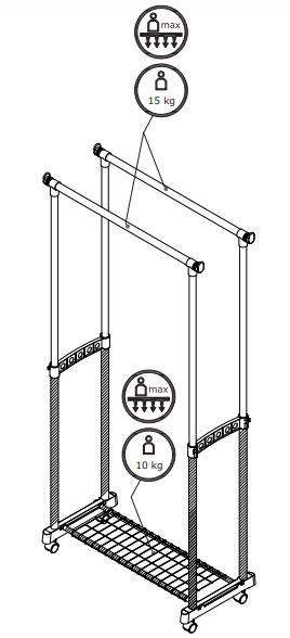 Dupli stalak za odeću sa policom za obuću Spider: Čiviluci