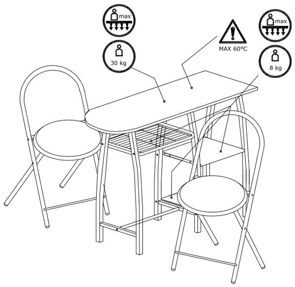 Trpezarijska garnitura Compact sto + 2 stolice