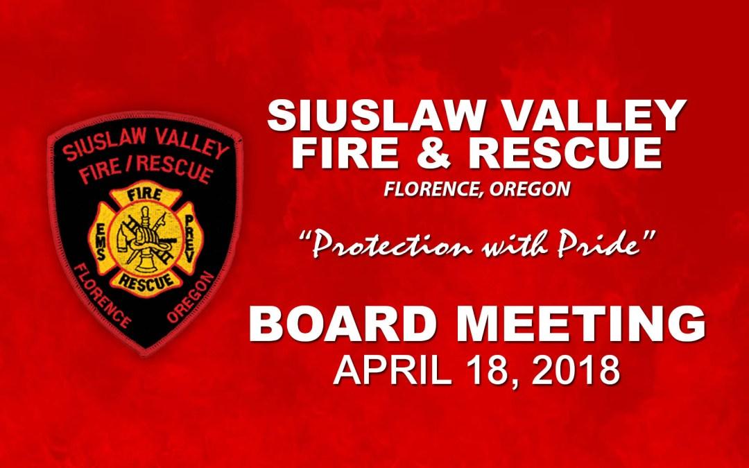 Board Meeting – April 18, 2018