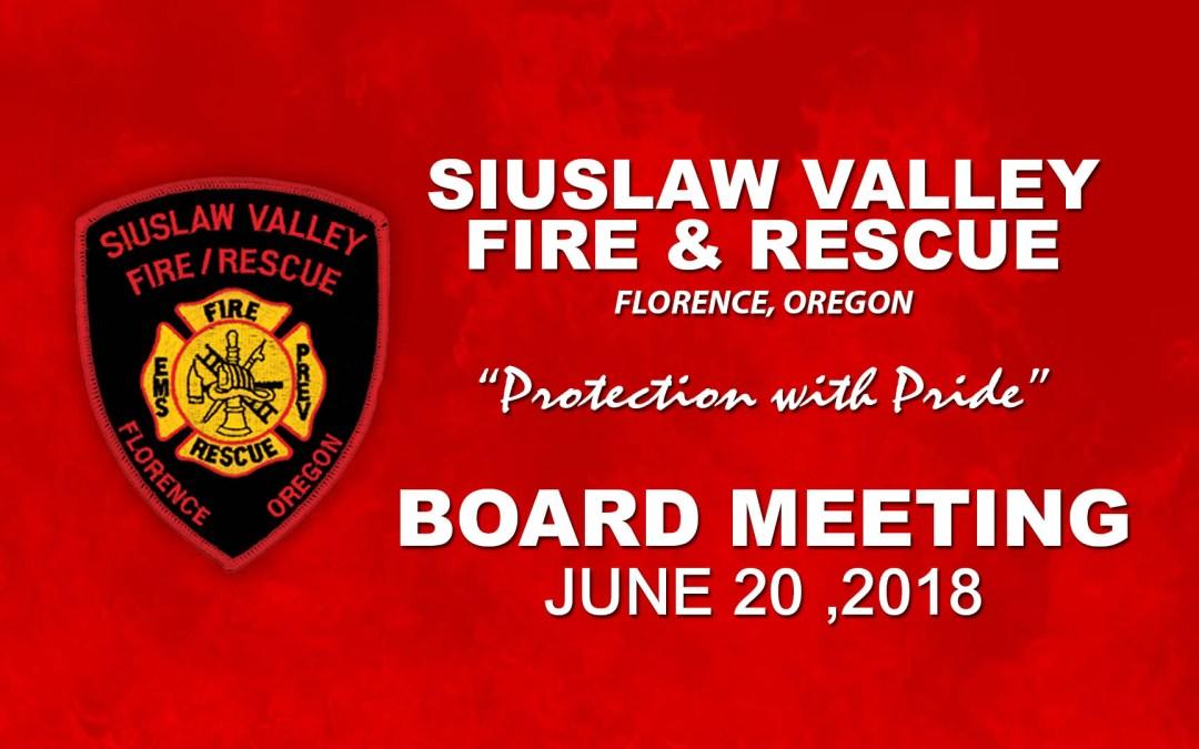 Board Meeting – June 20, 2018