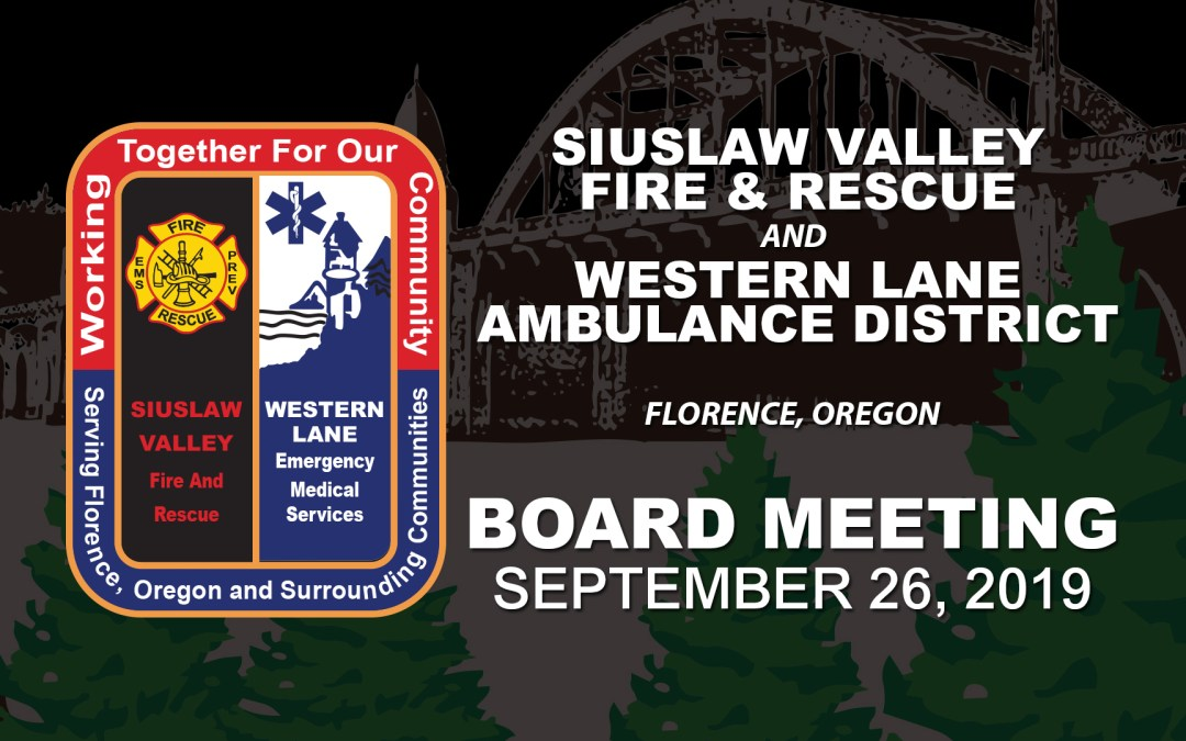SVFR/WLAD Board Meeting – September 26, 2019