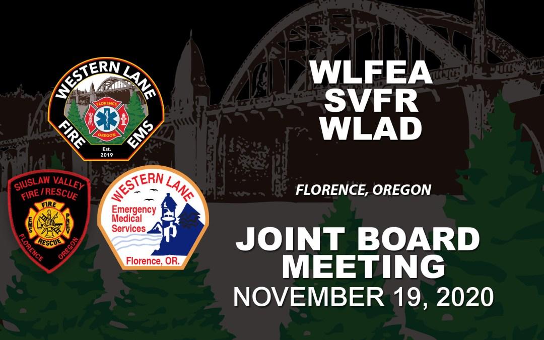 WLFEA/SVFR/WLAD Joint Board Meeting – November 19, 2020