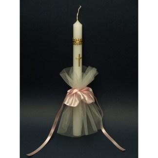 Svijeća za krštenje 2,5x42 cm saten mašna - Roza
