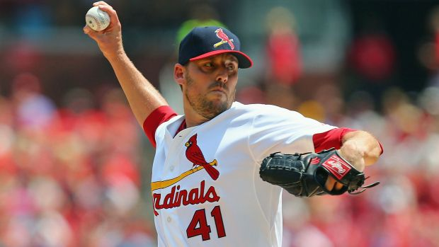 ST. LOUIS, MO - AUGUST 3: Starter John Lackey #41 of the St. Louis Cardinals pitches against the Milwaukee Brewers in the first inning at Busch Stadium on August 3, 2014 in St. Louis, Missouri. (Photo by Dilip Vishwanat/Getty Images)