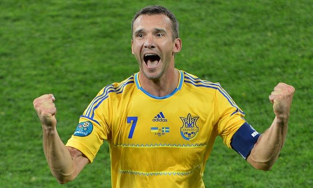 Ukrainian forward Andriy Shevchenko celebrates after scoring a goal during the Euro 2012 championships football match Ukraine vs Sweden on June 11, 2012 at the Olympic Stadium in Kiev. AFP PHOTO / SERGEI SUPINSKY (Photo credit should read SERGEI SUPINSKY/AFP/GettyImages)
