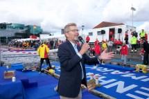 Swim event TF Christiansborg Rundt 2018. Swim event TF Christiansborg Rundt 2018. Københavns overborgmester, Frank Jensen, holder åbningstale.