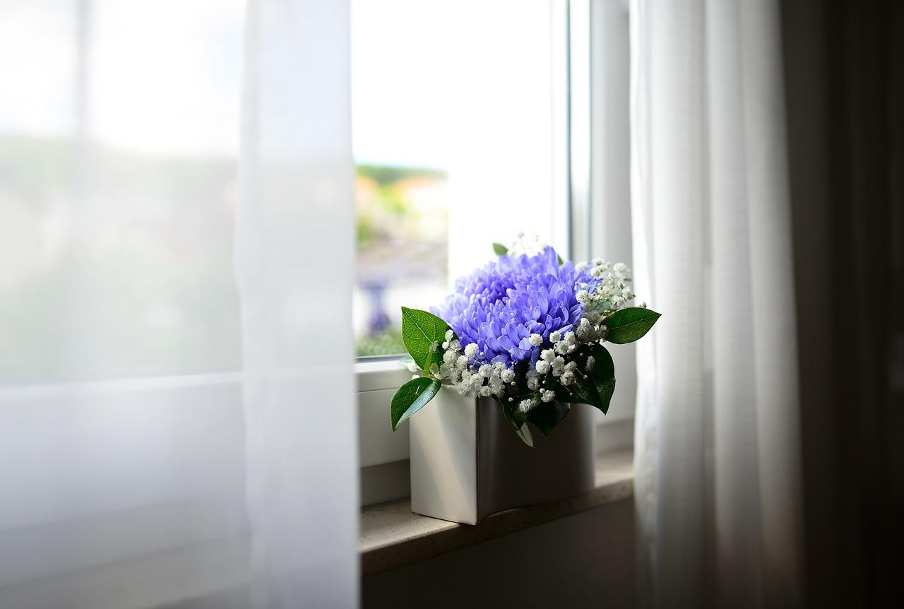 Flower Vase Window Curtains Room  - congerdesign / Pixabay