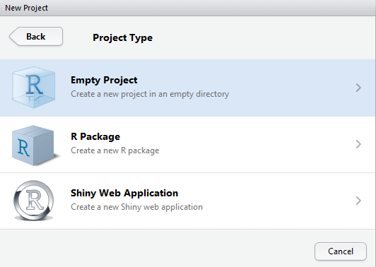 svm tutorial : create empty r project