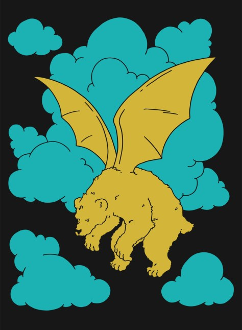 winged bear into the clouds.