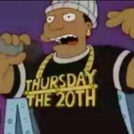 Thursday, the 20th.