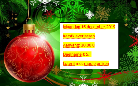 Uitslag + uitnodiging kerst klaverjassen