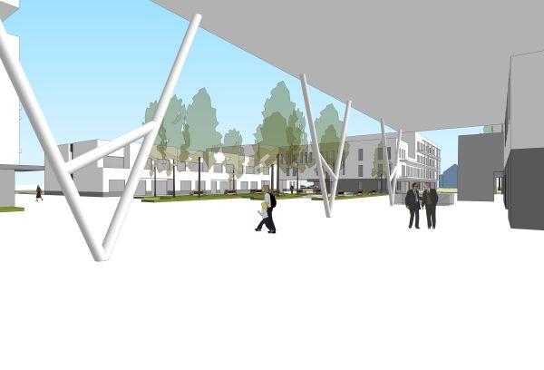 Rendering Woon- en Zorg-Campus Hof Ter Schelde, Antwerpen Linkeroever