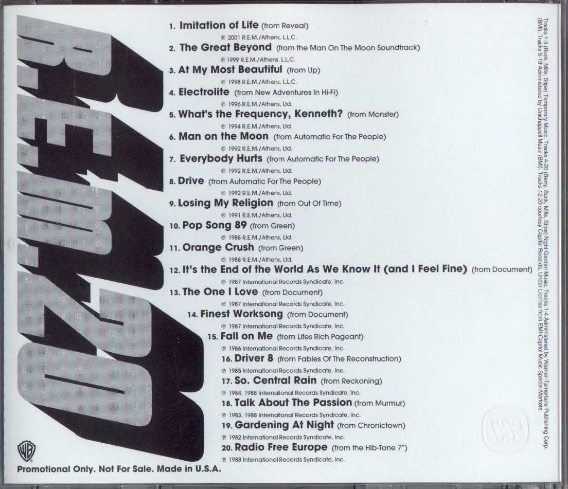 REM Promo Sampler Illustrated Discography