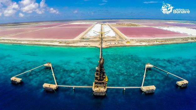 Aerial view Salt Pier and Salt Pans