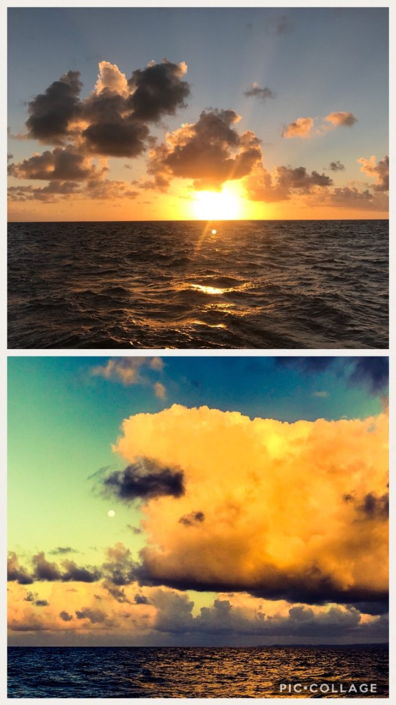 Sunset and Moonrise underway