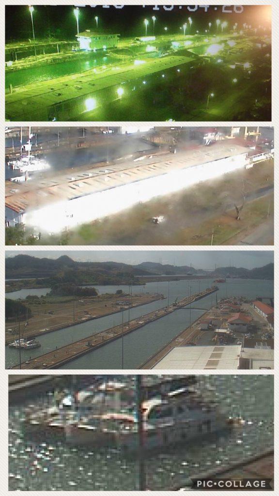 Web cam shots of us transiting the Panama Canal