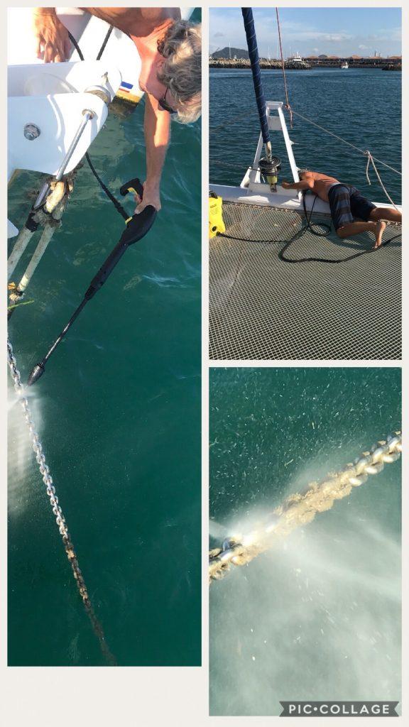 Pressure washing the anchor chain