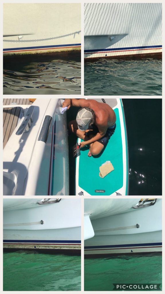 Cleaning the water line of the boat