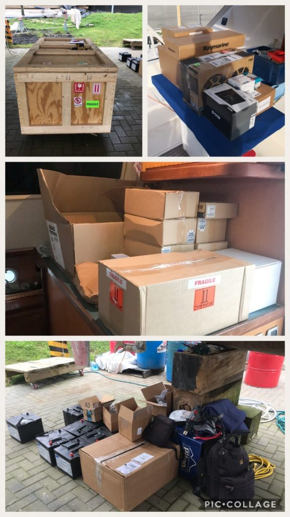 Arrival of boat parts