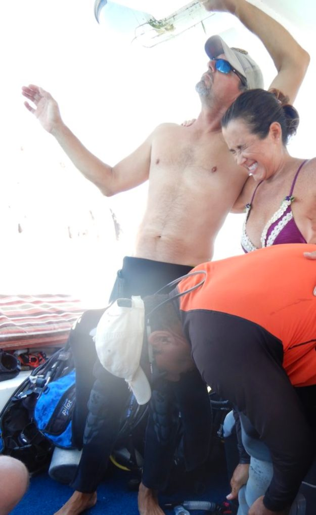 Squeezing into my wetsuit was entertaining for all