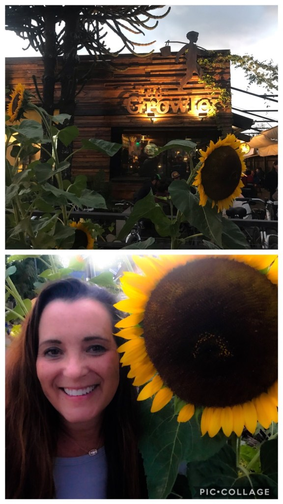 Fun eatery with large sunflowers