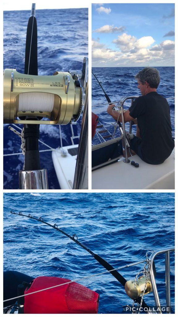Matt trying to reel in a 400lb Marlin