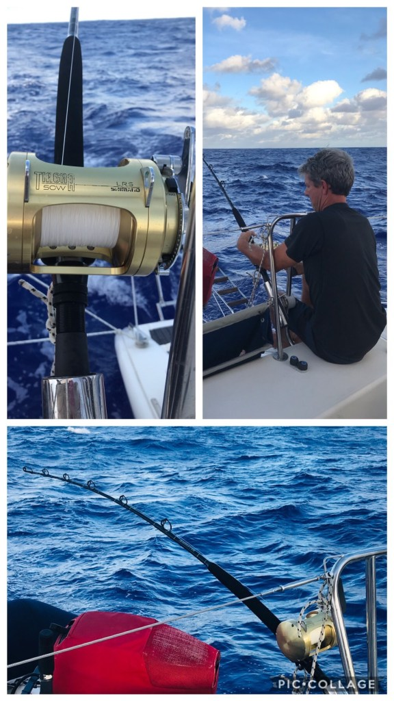 Matt trying to reel in a 400lb Marlin