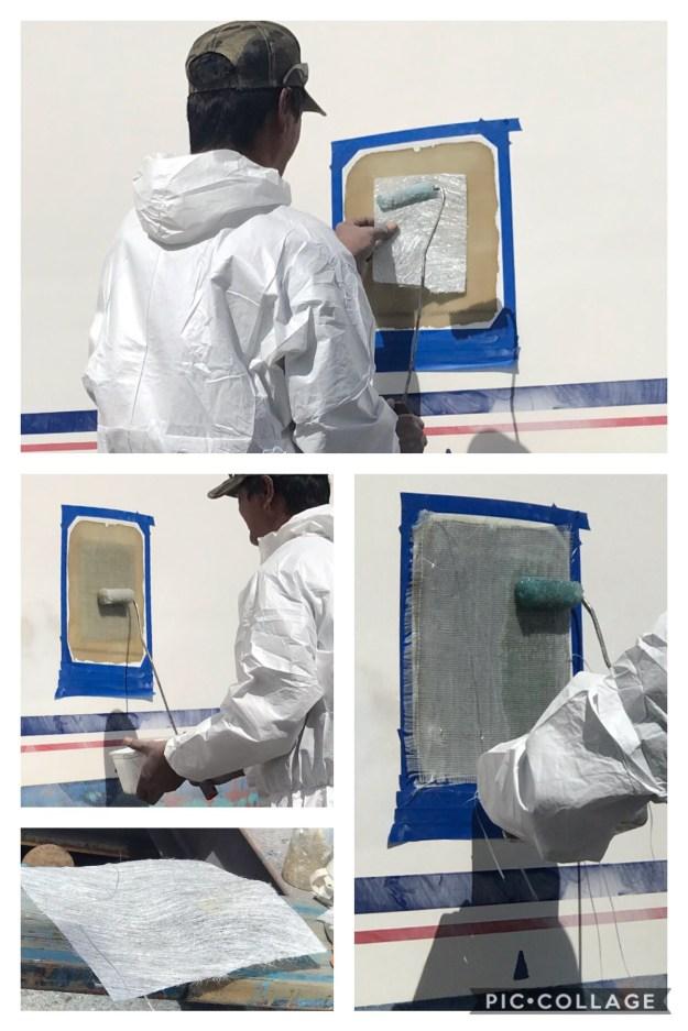 Layering the fiberglass