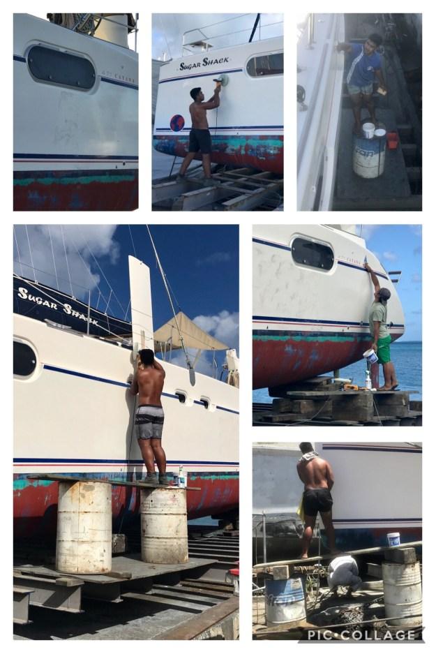 Polishing the boat