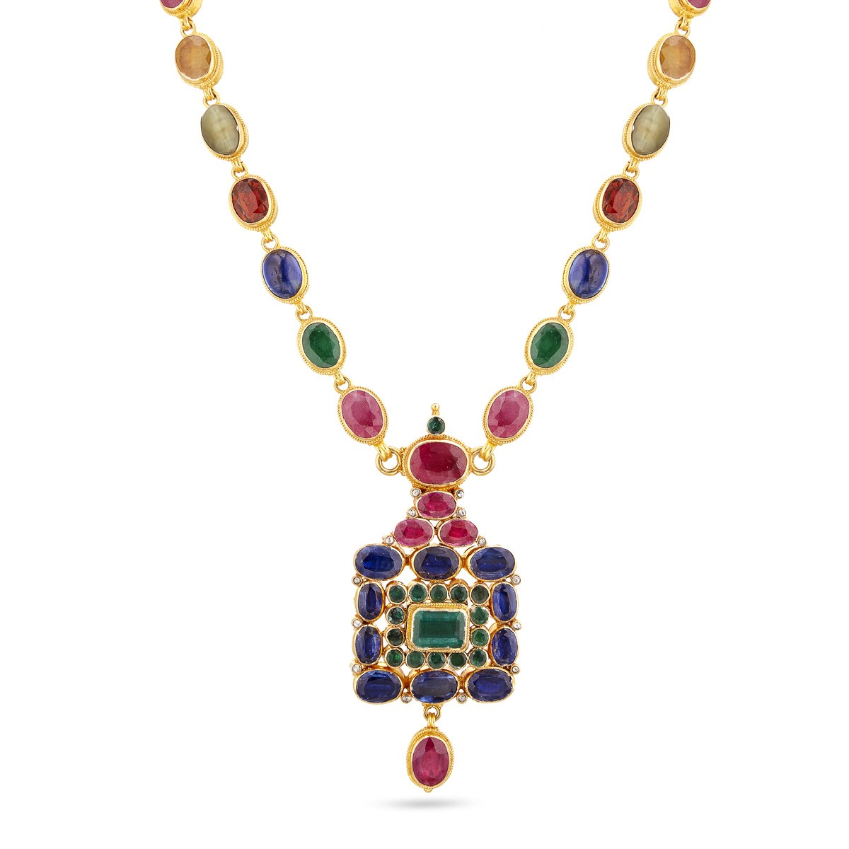 Navaratna Haram Short Necklace Gold