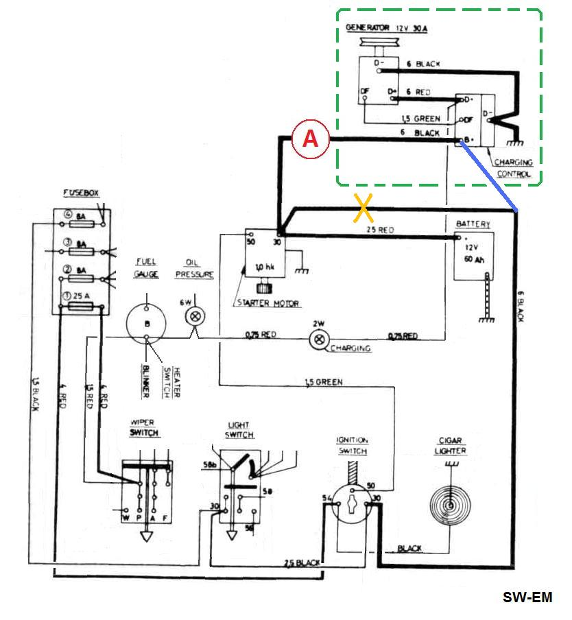 Typical Alternator With Amp Meter Wiring Diagram