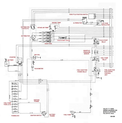 small resolution of excerpt from 71 1800e wiring diagram with fuel injection system connections and components