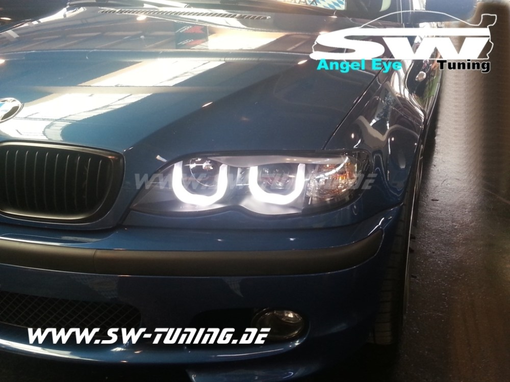 medium resolution of angel eye headlights bmw e46 01 05 lci sedan 2 u shaped position lights black