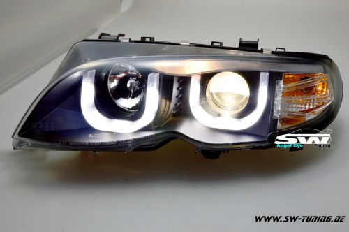 small resolution of angel eye headlights bmw e46 01 05 lci sedan 2 u shaped position lights black