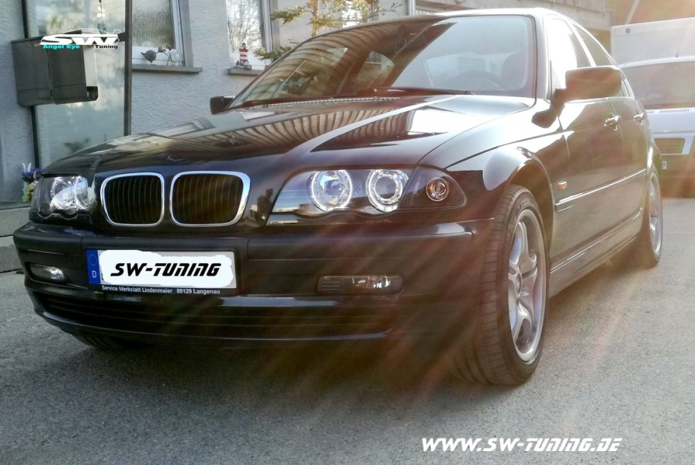 medium resolution of angel eye headlights 3er bmw e46 sedan 4doors 98 01 high led halo rims black