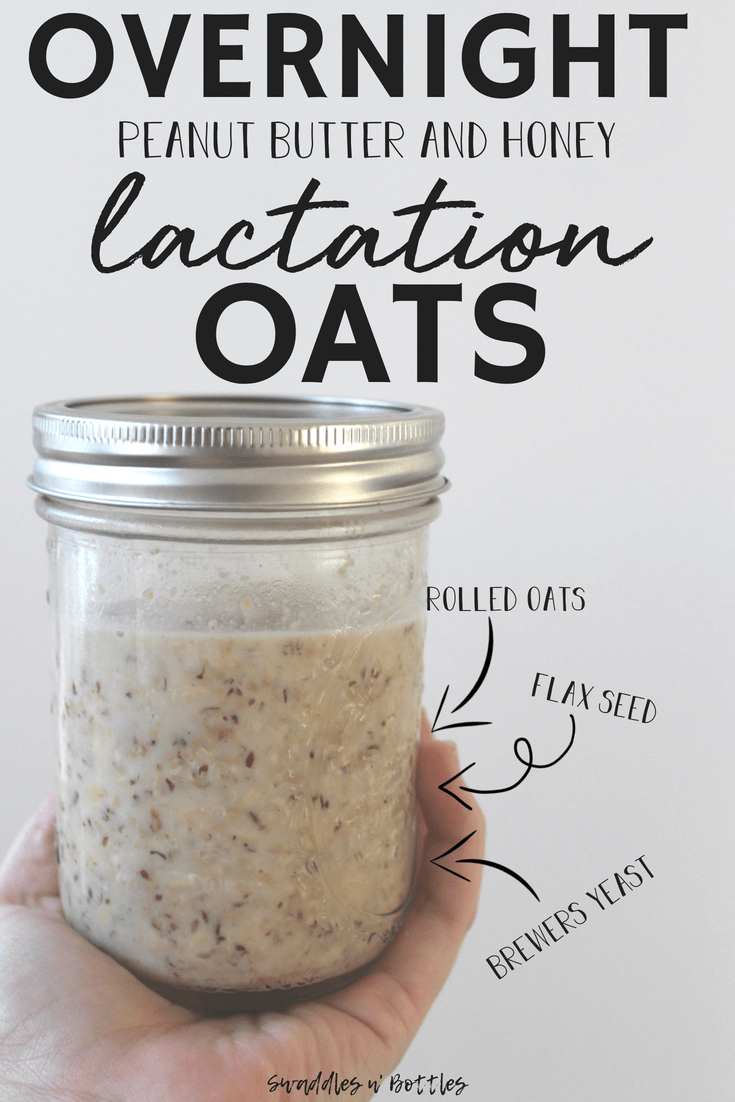 Overnight Peanut Butter and Honey Lactation Oats. Filled with ingredients to help boost and maintain your milk production. Plus- it makes mornings with baby so much easier to have a healthy breakfast ready to go!