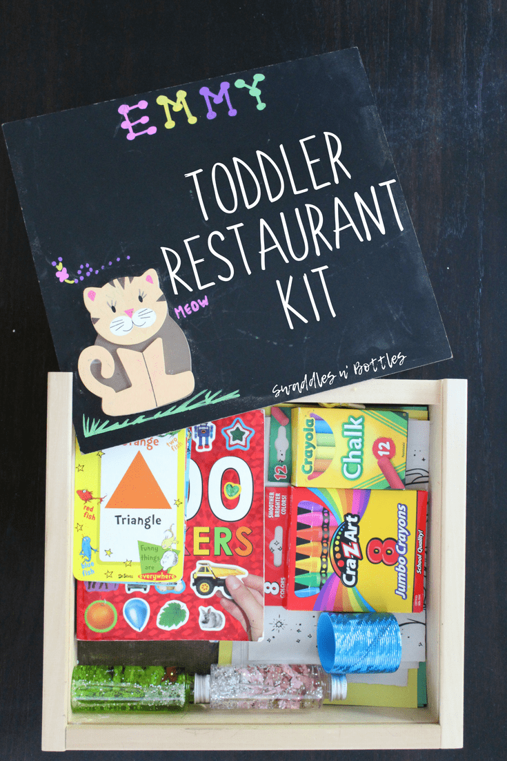Toddler Restaurant Kit! We love this handheld wooden box that fits all the activities our two year old loves! This has made dining out with two under two so much easier! We even made little sensory bottles to go in her kit. Such a great mom hack!