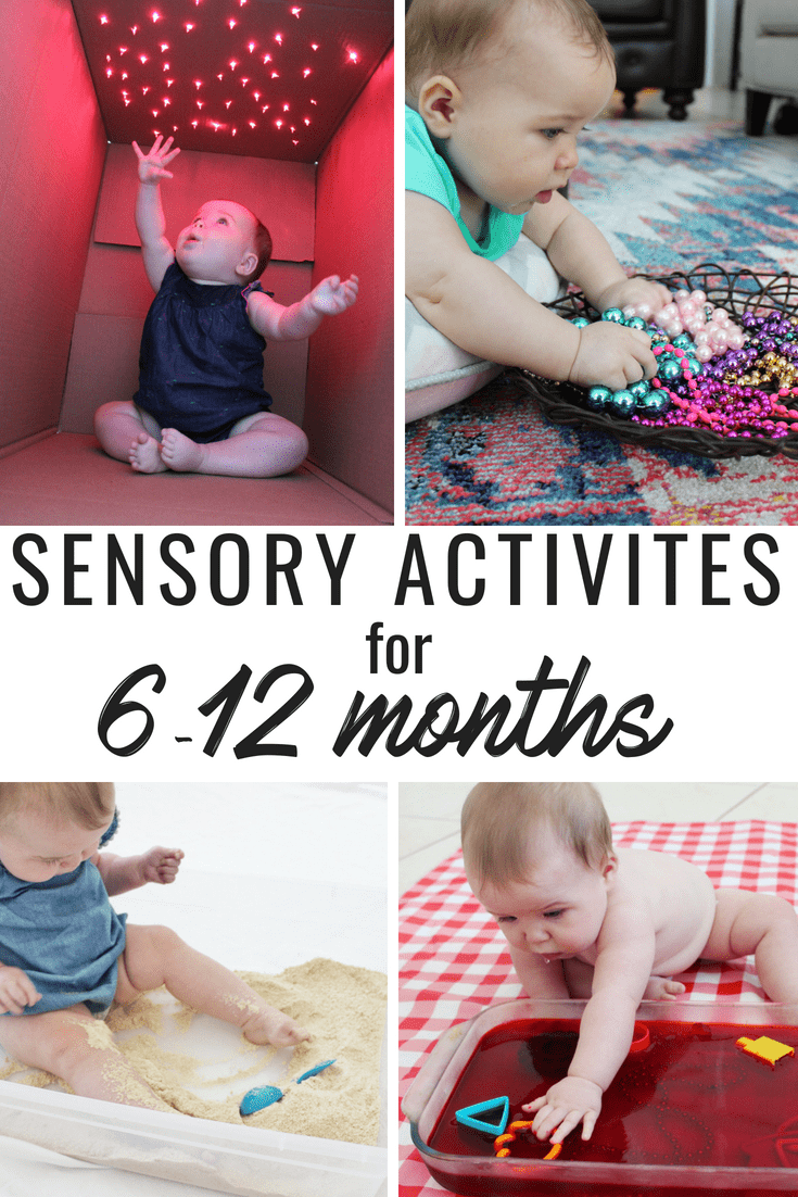 A great list of sensory activities for babies 6-12 months! Edible activities that can easily be made at home! I had most of these items in my house already and was able to put them together with little prep time!
