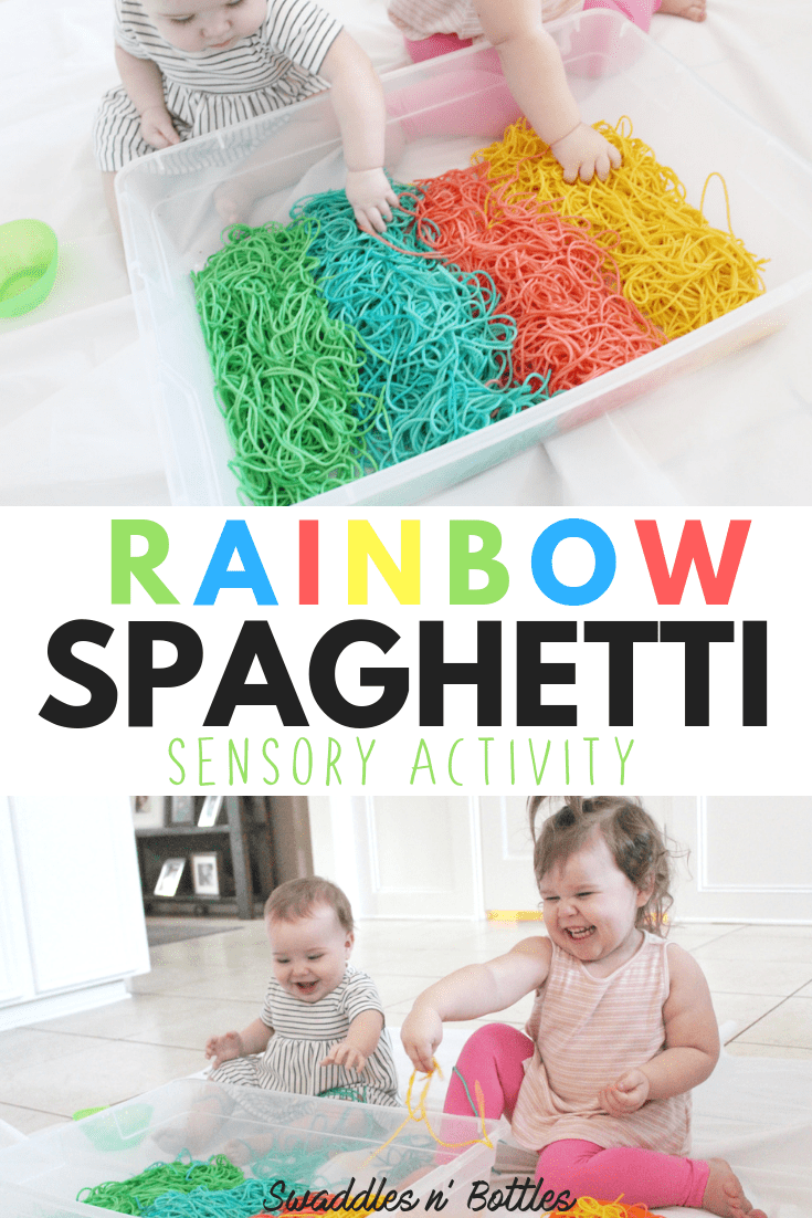 Colored Spaghetti! Sensory activities for both toddler and babies. This was such an inexpensive DIY activity to do with the kids. We did this sensory play activity indoors, but could be done outdoors as well, great preschool activity! Step by step instruction on how to dye spaghetti for sensory play