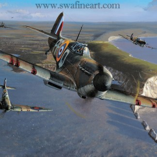 Spitfires Over The Needles Birthday Card