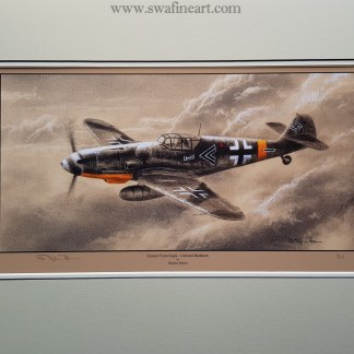 Eastern Front Eagle Gerhard Barkhorn Mounted Limited Edition Pencil Drawing (Stephen Brown Aviation Artist)