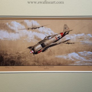 FW 190 of JG300 Klaus Bretschneider Mounted Pencil Print (Stephen Brown Aviation Artist)