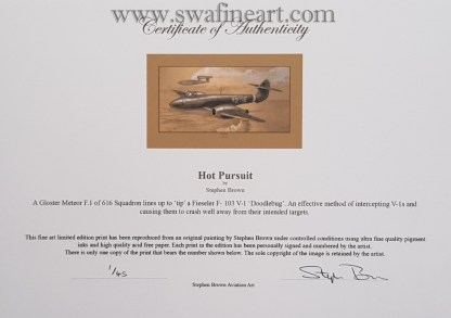 Hot Pursuit Mounted Limited Edition Pencil Drawing Certificate (Stephen Brown Aviation Artist)