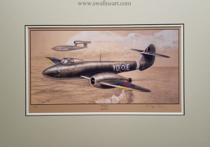 Hot Pursuit Mounted Limited Edition Pencil Drawing (Stephen Brown Aviation Artist)