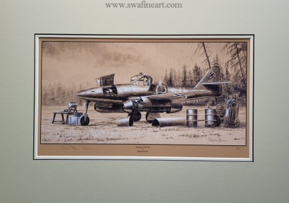 Me 262 of JV44 Mounted Limited Edition Pencil Drawing (Stephen Brown Aviation Artist)