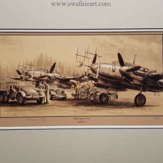 Night Fighters of NJG 1 Mounted Limited Edition Pencil Drawing (Stephen Brown Aviation Artist)