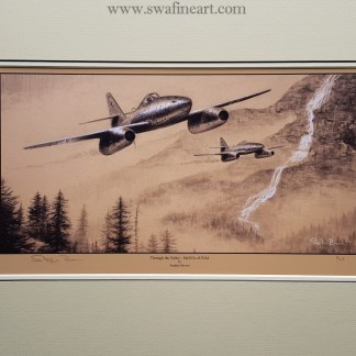 Through the Valley Me 262s Mounted Limited Edition Pencil Drawing (Stephen Brown Aviation Artist)