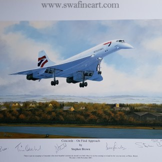 Concorde On Final Approach Set of 4 small A Proof Edition (Stephen Brown Aviation Artist)